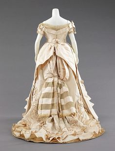 Ball gown Attributed to House of Worth  (French, 1858–1956) Designer: Attributed to Charles Frederick Worth (French (born England), Bourne 1825–1895 Paris) Date: ca. 1872 Culture: probably French Medium: silk