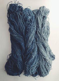 rdtextiles:  hand dyed indigo from my recent fermentation vat. silk noil skeins with a soft gradient