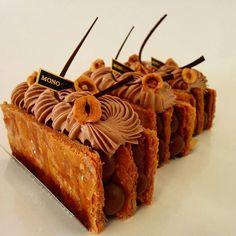 hazelnut praline-chocolate millefeuille for Mono Patisserie