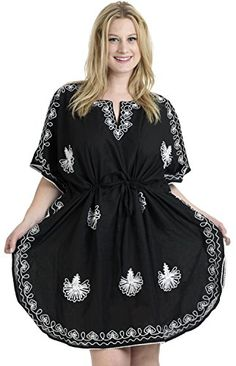 Women Embroidered Swimwear Swimsuit Beach Cover up Black Plain US 14  28W Spring Summer 2017 *** Visit the image link more details.