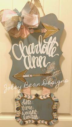 Joley Bean Designs, arrows, girl, nursery, baby door hanger