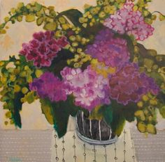 "Annie O'Brien Gonzales-Contemporary Abstract Still Life Art Painting ""SPRING HYDRANGEAS"" by Santa Fe Artist Annie O'Brien Gonzales"