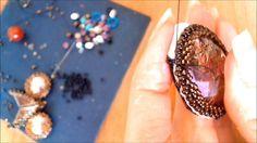 DIY tutorial gufo perline embroidery con rivoli swarovski e cabochon in resina