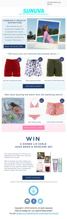Marketing email from Sunuva including social proof and a competition to keep customers engaged. #EmailMarketing #Fashion #Social  #Proof #Recommendations #Competition