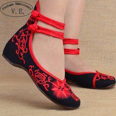 Aliexpress.com: Comprar Mujeres de la manera Zapatos Viejos Beijing zapatos de Mary Jane Pisos Con Zapatos Casuales de Estilo Chino Bordado de Tela mujer Plus Size 40 de zapatos de los planos de las mujeres fiable proveedores en Chinese National Store