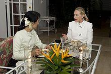 Aung San Suu Kyi and Mrs Clinton