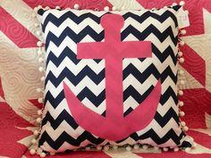 Hot Pink Anchor applique on Navy and white Chevron, Fun!