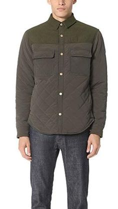 ff712030 Scotch & Soda Men's Quilted Shirt Jacket in Mix and Match Wool/Nylon  Quality, Army, L