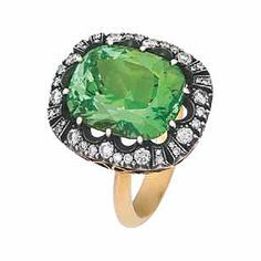 Ring with green garnet and diamonds in yellow gold and silver, TENZO