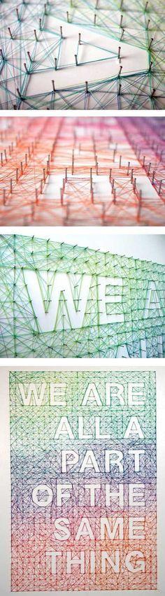 Cool DIY String Wall Quote Ideas | Idées à réaliser soi-même fil tendu. Art filaire