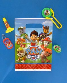 Paw Patrol Pre-filled Party Bag, including a party bag, Paw Patrol horn, disc shooter, spinning top and dog tag for  £1.15. https://littlepartyparcels.co.uk/shop/paw-patrol-pre-filled-party-bag/