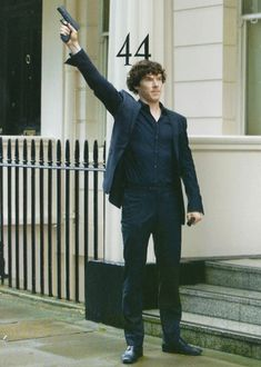 John: Let's call the police. Sherlock: *fires in the air* John: . Sherlock: On their way Benedict Sherlock, Sherlock Bbc, Benedict Cumberbatch Tumblr, Watson Sherlock, Sherlock Quotes, Johnlock, John Watson, Martin Freeman, Mrs Hudson