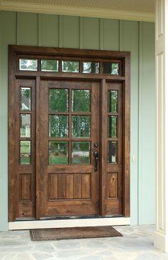 Oconee TDL 6LT 6/8 Single Knotty Alder Door w/ Sidelights and Transom. Clear Beveled Glass