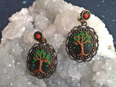 Apple Tree Embroidery Earrings  Polymer Clay by TriskeleBalance
