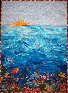 ocean landscape quilt | Sampaguita Quilts: Blogger's Quilt Festival - Morning Swim by Emma How
