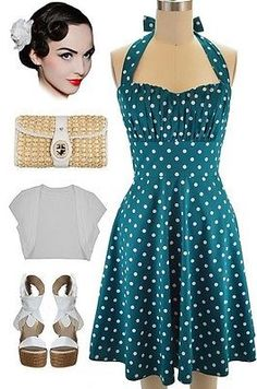 50s Inspired DEEP TEAL with White POLKA DOTS Pinup Betty HALTER TOP Sun Dress