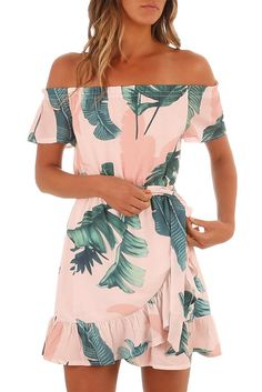 5c02c5d3624a Chic Chic Tropical Leaf Print Off Shoulder Summer Dress MB220314-1 –  ChicLike.com