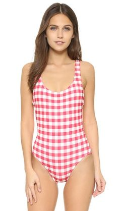 Hot pink, purple, beige Solid & Striped  swimsuit  for woman This Solid & Striped one piece swimsuit has a scoop back and a charming gingham print. Lined. Shell: 83% polyamide/17% polyester. Lining: 85% polyamide/15% elastane. Hand wash. Imported, Sri Lanka. Size & Fit. Available sizes: M,S,XS #bathingsuit