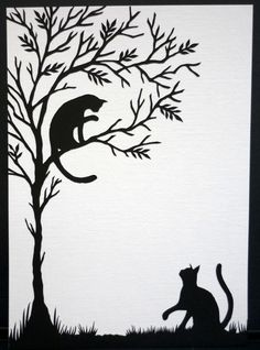 Cats at play - Hand cut paper artwork