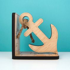 Wood Anchor Bookend Nautical Boat Anchor by graphicspaceswood, $48.00