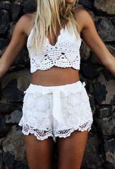 White Lace Drawstring Shorts