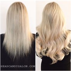 Before And After // Fusion Hair Extensions & Highlights #blonde #blondehair #platinum #beforeandafter #fusionextensions #fusionhair #hairextensions #longhair  #hair #hairstyle #torontoextensions #torontosalon #toronto #headcandystudio #headcandy #queenwest