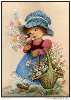 ✿vivek pal ¸¸. Clip Art Vintage, Vintage Cards, Vintage Postcards, Holly Hobbie, Art Mignon, Cute Clipart, Weekend Fun, Cute Illustration, Cute Cards
