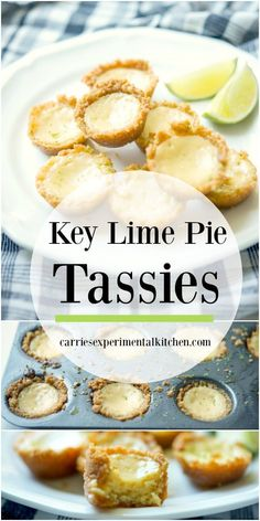 Enjoy one of your favorite desserts in individual portion sizes with these Key Lime Pie Tassies made with fresh key limes in a graham cracker crust. Key Lime Desserts, Lemon Dessert Recipes, Lime Recipes, Köstliche Desserts, Delicious Desserts, Vegan Recipes, Mini Key Lime Pies, Mini Pies, Tolle Desserts