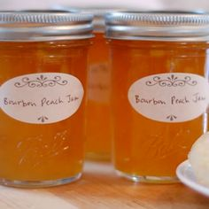 Preserved: Bourbon Peach Jam - This year I decided to vary my standard peach jam by adding a big splash of bourbon, a cinnamon stick, and a vanilla bean. This recipe would also be delicious with dark rum. Jelly Recipes, Jam Recipes, Canning Recipes, Bourbon Recipes, Canning Tips, Curry Recipes, Cooker Recipes, Peach Jam, Butter