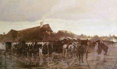Józef Marian Chełmoński (Polish 1849–1914) [Polish Patriotic Painting] Wołyńskie maiasteczko, 1875. Olej na płótnie. 64 x 103 cm. Własność prywatna.