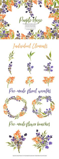 Purple and Orange watercolor floral clip-art with tons of different options- Inkstruck Studio
