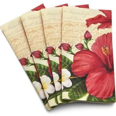 Set of 4 100% cotton Hibiscus design napkins.. Each napkin measures 20″ x 20″. Machine washable. Tumble dry on low. Hibiscus Blossom Cloth Napkin Set, Red and White, Flower, Floral Decorative, Home Decor, Set of 4   Set of 4 Hibiscus design placemats that match the cotton napkins. The placemats are made of 100% fine cotton …
