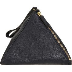 Jil Sander Triangle Wristlet ($445) ❤ liked on Polyvore featuring bags, handbags, clutches, accessories, black, purses, women, luggage, handbags & purses and main floor bags