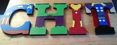 Handpainted+wood+superhero+letters+of+your+por+TheHandpaintedHero,+$18,00
