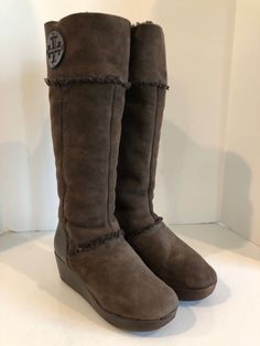2f0eee7a71a5 TORY BURCH brown suede tall winter boots   wedges sz. 9 M  fashion