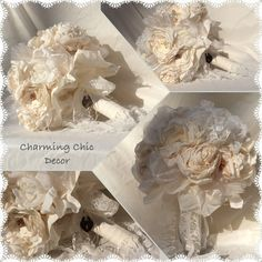 I found this beautiful bouquet on etsy!  https://www.etsy.com/listing/219316411/shabby-chic-wedding-bouquet-fabric