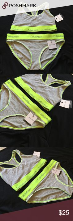 Calvin Klein bralette and bikini set!! 👙👙 Classic CK logo band in a neon green and heather grey color!! New color for spring!! Brand new with tags! Super soft and comfy racerback bralette with matching bikini panty !!! Calvin Klein Intimates & Sleepwear