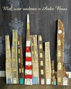 wood - on th Thoughts sont fabriquéazines ces systèmes Driftwood Sculpture, Outdoor Sculpture, Wood Crafts, Diy And Crafts, Arts And Crafts, Diy Painting, Painting On Wood, Coastal Art, Pallet Art