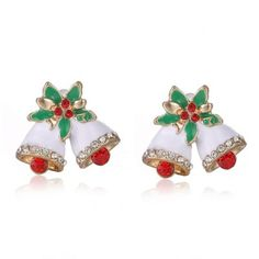 Pair of Cute Floral Rhinestone Christmas Bell Earrings Jewelry For Women-1.97 and Free Shipping| GearBest.com