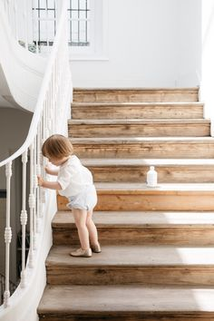 gorgeous floors and staircase railing