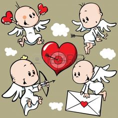 cute angels with valentine heart