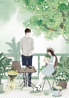 Best Ideas For Flowers Design Illustration Book Covers Cute Couple Drawings, Cute Couple Art, Anime Love Couple, Cool Art Drawings, Cute Anime Couples, Cartoon Drawings, Art Anime, Anime Art Girl, Cover Wattpad