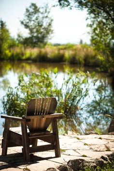 . On Golden Pond, Pond Life, Outdoor Chairs, Outdoor Decor, Adirondack Chairs, Lake Cabins, Me Time, Country Life, The Great Outdoors