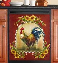 Dishwasher Magnet Kitchen Tools Bar Covers Art Refrigerator Rooster Sunflowers  #Unbranded