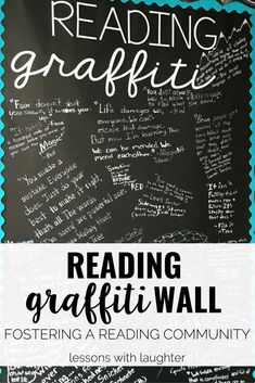 Teach Your Child to Read - Fostering a classroom reading community with a student driven Reading Graffiti Wall - Give Your Child a Head Start, and.Pave the Way for a Bright, Successful Future. Ela Classroom, Middle School Classroom, Classroom Community, Classroom Ideas, Classroom Design, Future Classroom, Bulletin Board Ideas Middle School, Highschool Classroom Decor, Classroom Wall Quotes