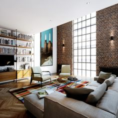 Michaelis Boyd Associates � Battersea Power Station I'm really excited about the wall mounted light fixtures - this is a lesson to be learned! The brick wall and floor to ceiling window are actually balanced by those tiny light fixtures and their effect on the wall! It's genius !