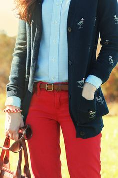 Classy Girls Wear Pearls: September 2012 Sarah Vickers.  Love the quirky duck cardigan!