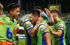 Jordan Rapana of the Raiders is congratulated after scoring a try during the round eight NRL match between the Canberra Raiders and the Manly Sea Eagles at GIO Stadium on April 21, 2017 in Canberra, Australia.