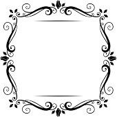 Vector vintage flourish frame, black on white.