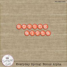 Everyday Spring alpha freebie from Simple Girl #scrapbook #digiscrap #scrapbooking #digifree #scrap
